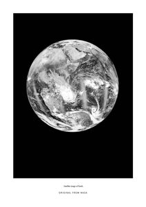 Earth From The Satellite  Posters Svartvita posters