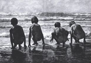 Kids On The Beach  Prints Illustrations