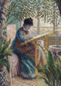 Madame Monet Embroidering By Monet  Posters New Arrivals