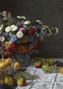 Still Life With Flowers And Fruit By Monet  Prints Famous Artworks