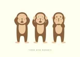Three Wise Monkeys  Prints Kids Prints
