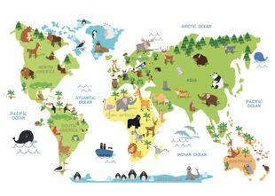 World Map Animals  Prints Kids Prints