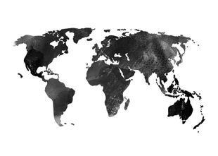 World Map Watercolor  Prints Black & White Photography