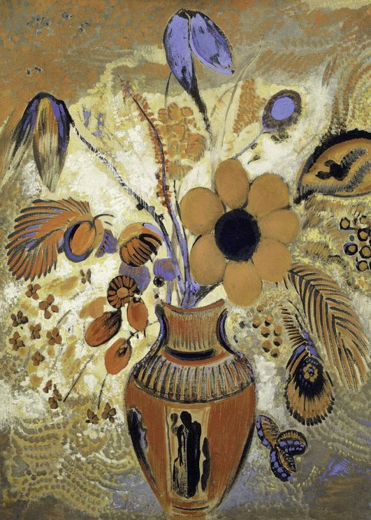 Etruscan Vase With Flowers By O.Redon