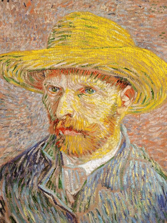 Self Portrait With A Straw Hat By Van Gogh