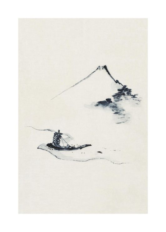 Small Boat On A River With Mount Fuji By Hokusai