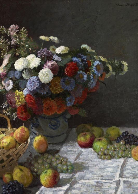 Still Life With Flowers And Fruit By Monet