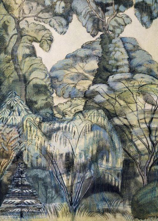 Trees In Bird Garden By Paul Nash