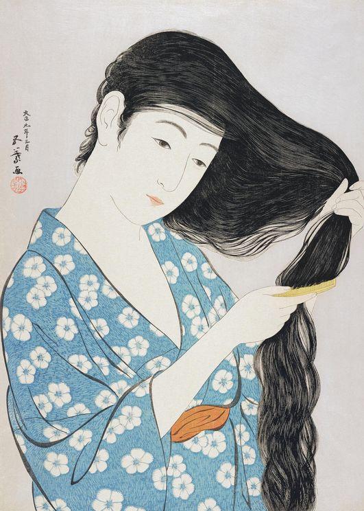 Woman Combing Her Hair By G.Hashiguchi